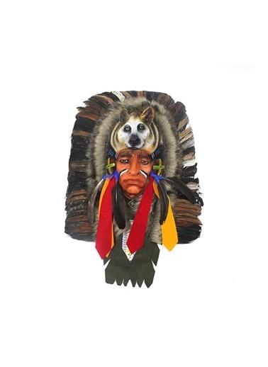 JBL Kurtlu Kızılderili Mask Dekoratif Hediyelik Renkli